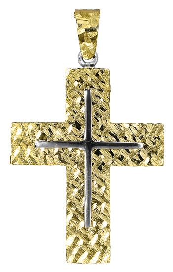 Σταυροί Βάπτισης - Αρραβώνα Ανδρικός δίχρωμος σταυρός 017396 017396 Ανδρικό Χρυσός 14 Καράτια