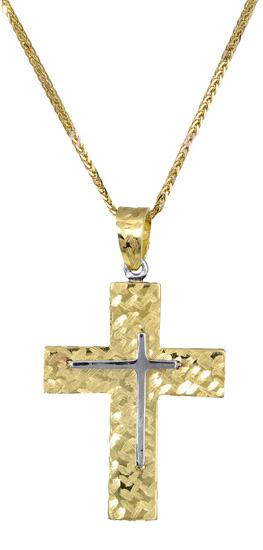 Βαπτιστικοί Σταυροί με Αλυσίδα Ανδρικός σταυρός με αλυσίδα c017398 017398C Ανδρικό Χρυσός 14 Καράτια