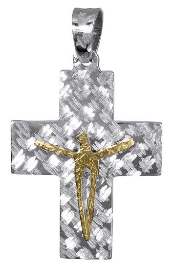 Σταυροί Βάπτισης - Αρραβώνα Σταυρός δίχρωμος διπλής όψης 017400 017400 Ανδρικό Χρυσός 14 Καράτια