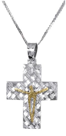 Βαπτιστικοί Σταυροί με Αλυσίδα Ανδρικός λευκόχρυσος σταυρός c017400 017400C Ανδρικό Χρυσός 14 Καράτια