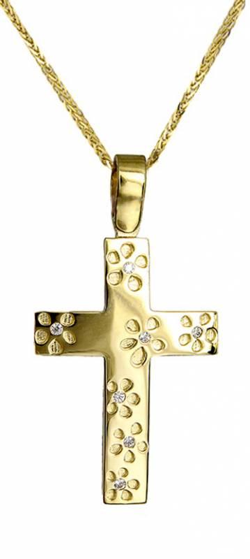 Βαπτιστικοί Σταυροί με Αλυσίδα Σταυρός βάπτισης για κορίτσι c017409 017409C Γυναικείο Χρυσός 14 Καράτια