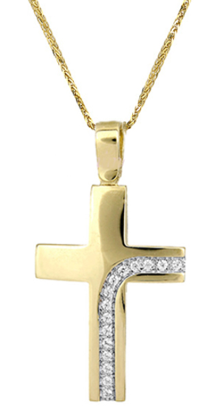 Βαπτιστικοί Σταυροί με Αλυσίδα Γυναικείος χρυσός σταυρός c017412 017412C Γυναικείο Χρυσός 14 Καράτια