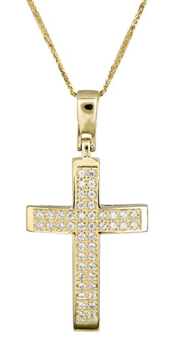 Βαπτιστικοί Σταυροί με Αλυσίδα Χρυσός σταυρός c017413 017413C Γυναικείο Χρυσός 14 Καράτια