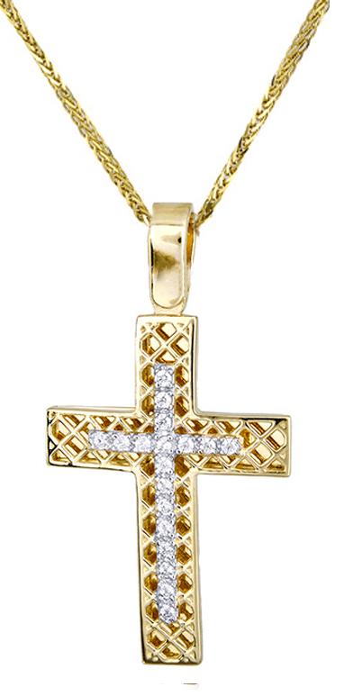 Βαπτιστικοί Σταυροί με Αλυσίδα Χρυσός σταυρός γυναικείος c017416 017416C Γυναικείο Χρυσός 14 Καράτια