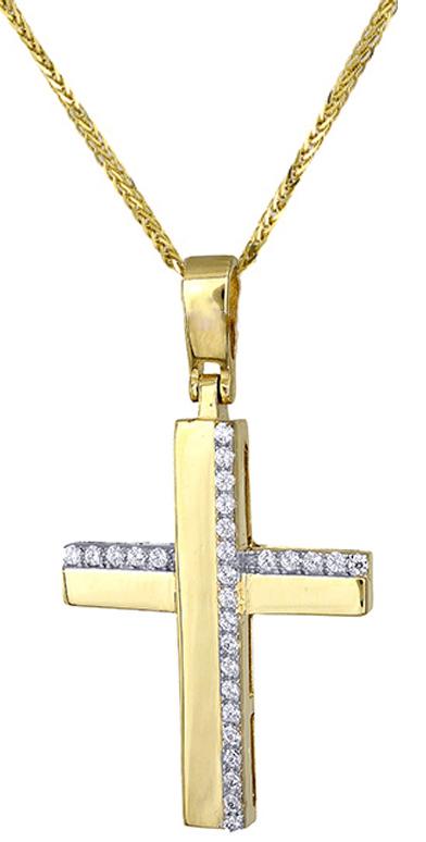 Βαπτιστικοί Σταυροί με Αλυσίδα Γυναικείος σταυρός c017418 017418C Γυναικείο Χρυσός 14 Καράτια