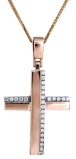 Βαπτιστικοί Σταυροί με Αλυσίδα Γυναικείος ροζ χρυσός σταυρός c017419 017419C Γυναικείο Χρυσός 14 Καράτια