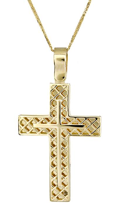 Βαπτιστικοί Σταυροί με Αλυσίδα Χρυσός σταυρός c017420 017420C Ανδρικό Χρυσός 14 Καράτια