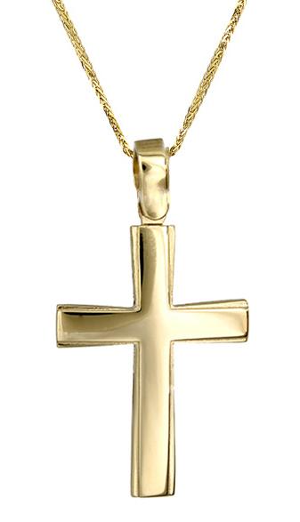 Βαπτιστικοί Σταυροί με Αλυσίδα Κλασικός σταυρός c017421 017421C Ανδρικό Χρυσός 14 Καράτια