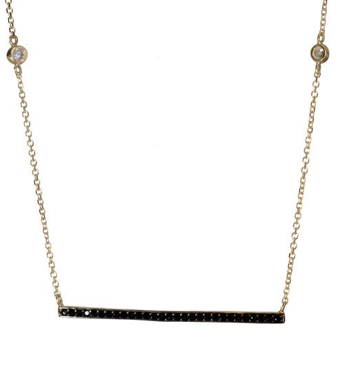 Χρυσό κολιέ με μαύρες πέτρες ζιργκόν 017471 017471 Χρυσός 14 Καράτια