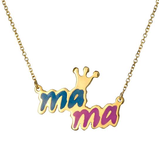 Χρυσό κολιέ μαμά 017476 017476 Χρυσός 14 Καράτια χρυσά κοσμήματα κολιέ