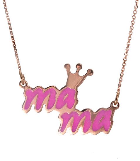 Ροζ χρυσό κολιέ μαμά 017477 017477 Χρυσός 14 Καράτια χρυσά κοσμήματα κολιέ