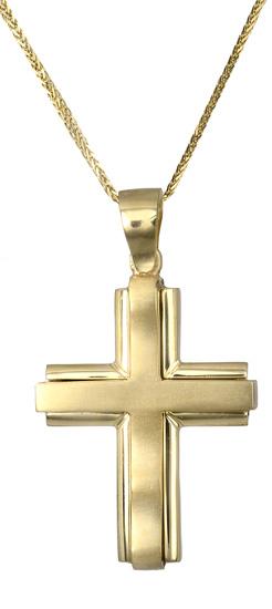 Βαπτιστικοί Σταυροί με Αλυσίδα Χρυσός σταυρός Κ18 c017500 017500C Ανδρικό Χρυσός 18 Καράτια