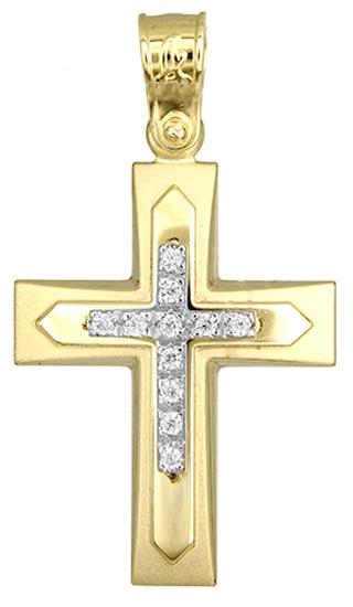 Σταυροί Βάπτισης - Αρραβώνα Σταυρός βάπτισης για κορίτσι 017509 017509 Γυναικείο Χρυσός 14 Καράτια
