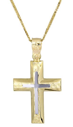 Βαπτιστικοί Σταυροί με Αλυσίδα Δίχρωμος σταυρός c017514 017514C Ανδρικό Χρυσός 14 Καράτια