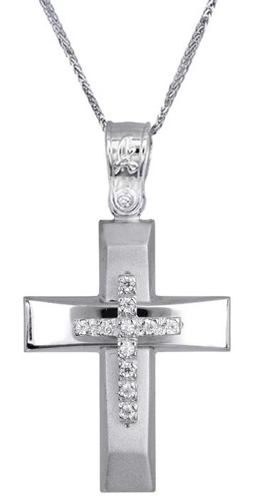 Βαπτιστικοί Σταυροί με Αλυσίδα Γυναικείος σταυρός c017516 017516C Γυναικείο Χρυσός 14 Καράτια