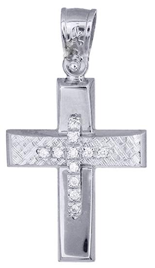 Σταυροί Βάπτισης - Αρραβώνα Λευκόχρυσος γυναικείος σταυρός 017517 017517 Γυναικείο Χρυσός 14 Καράτια