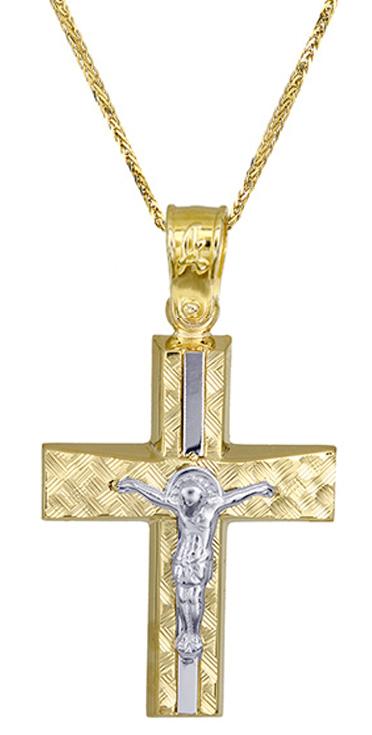 Βαπτιστικοί Σταυροί με Αλυσίδα Δίχρωμος ανδρικός σταυρός c017519 017519C Ανδρικό σταυροί βάπτισης   γάμου βαπτιστικοί σταυροί με αλυσίδα