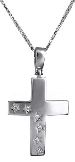 Βαπτιστικοί Σταυροί με Αλυσίδα Σταυρός για κορίτσι c017593 017593C Γυναικείο Χρυσός 14 Καράτια