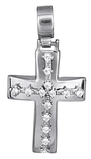 Σταυροί Βάπτισης - Αρραβώνα Γυναικείος λευκόχρυσος σταυρός 017600 017600 Γυναικείο Χρυσός 14 Καράτια