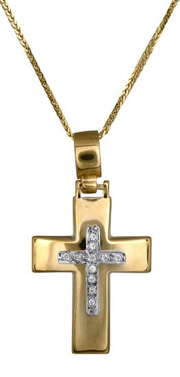 Βαπτιστικοί Σταυροί με Αλυσίδα Χρυσός σταυρός c017602 017602C Γυναικείο Χρυσός 14 Καράτια