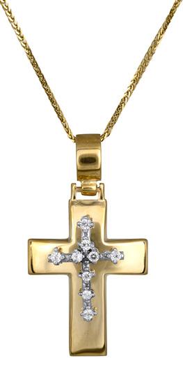 Βαπτιστικοί Σταυροί με Αλυσίδα Σταυρός βάπτισης για κορίτσι c017603 017603C Γυναικείο Χρυσός 14 Καράτια