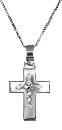 Βαπτιστικοί Σταυροί με Αλυσίδα Λευκόχρυσος σταυρός Κ14 c017604 017604C Γυναικείο Χρυσός 14 Καράτια