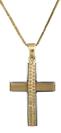 Βαπτιστικοί Σταυροί με Αλυσίδα Ανδρικός σταυρός c017607 017607C Ανδρικό Χρυσός 14 Καράτια