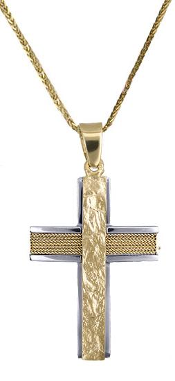 Βαπτιστικοί Σταυροί με Αλυσίδα Ανδρικός σταυρός c017609 017609C Ανδρικό Χρυσός 14 Καράτια