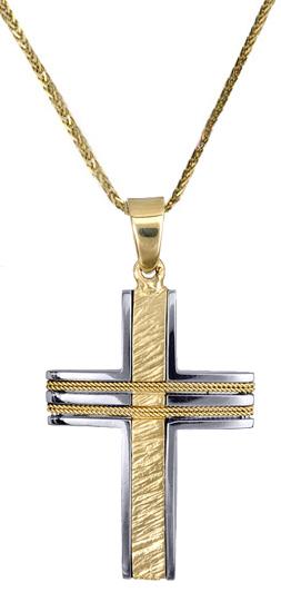 Βαπτιστικοί Σταυροί με Αλυσίδα Ανδρικός σταυρός c017610 017610C Ανδρικό Χρυσός 14 Καράτια