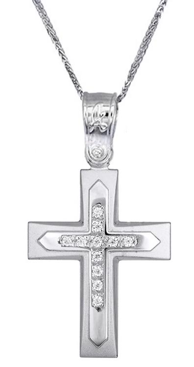 Βαπτιστικοί Σταυροί με Αλυσίδα Σταυρός βάπτισης για κορίτσι c017614 017614C Γυναικείο Χρυσός 14 Καράτια