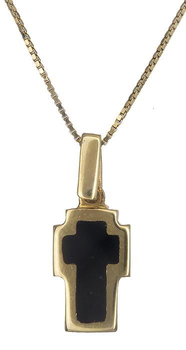 Γυναικείο σταυρουδάκι διπλής όψης Κ14 C017619 017619C Χρυσός 14 Καράτια