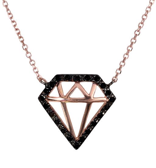 Ροζ χρυσό κολιέ με σχέδιο διαμάντι 017622 017622 Χρυσός 14 Καράτια