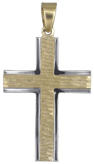 Σταυροί Βάπτισης - Αρραβώνα Δίχρωμος ανδρικός σταυρός 017707 017707 Ανδρικό Χρυσός 14 Καράτια
