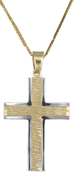 Βαπτιστικοί Σταυροί με Αλυσίδα Ανδρικός σταυρός c017707 017707C Ανδρικό Χρυσός 14 Καράτια