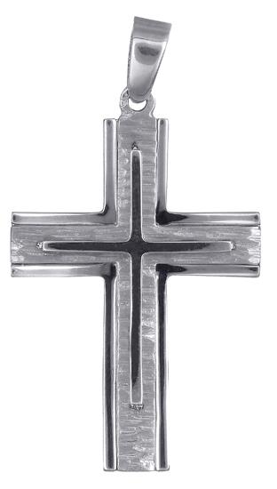 Σταυροί Βάπτισης - Αρραβώνα Λευκόχρυσος ανδρικός σταυρός 017708 017708 Ανδρικό Χρυσός 14 Καράτια