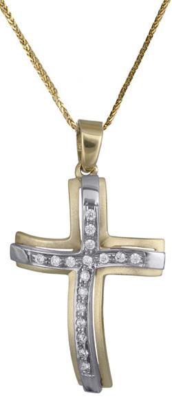Βαπτιστικοί Σταυροί με Αλυσίδα Γυναικείος σταυρός c017710 017710C Γυναικείο Χρυσός 14 Καράτια