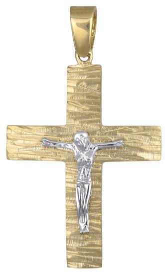 Σταυροί Βάπτισης - Αρραβώνα Δίχρωμος ανδρικός σταυρός 017712 017712 Ανδρικό Χρυσός 14 Καράτια