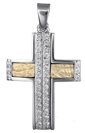 Σταυροί Βάπτισης - Αρραβώνα Δίχρωμος γυναικείος σταυρός πέτρες ζιργκόν 14Κ 017848 017848 Γυναικείο Χρυσός 14 Καράτια