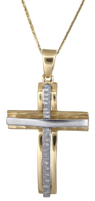 Βαπτιστικοί Σταυροί με Αλυσίδα Ανδρικός σταυρός 017849 017849C Ανδρικό Χρυσός 14 Καράτια