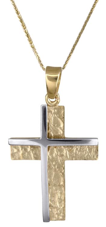 Βαπτιστικοί Σταυροί με Αλυσίδα Σταυρός για αγόρι c017851 017851C Ανδρικό Χρυσός 14 Καράτια