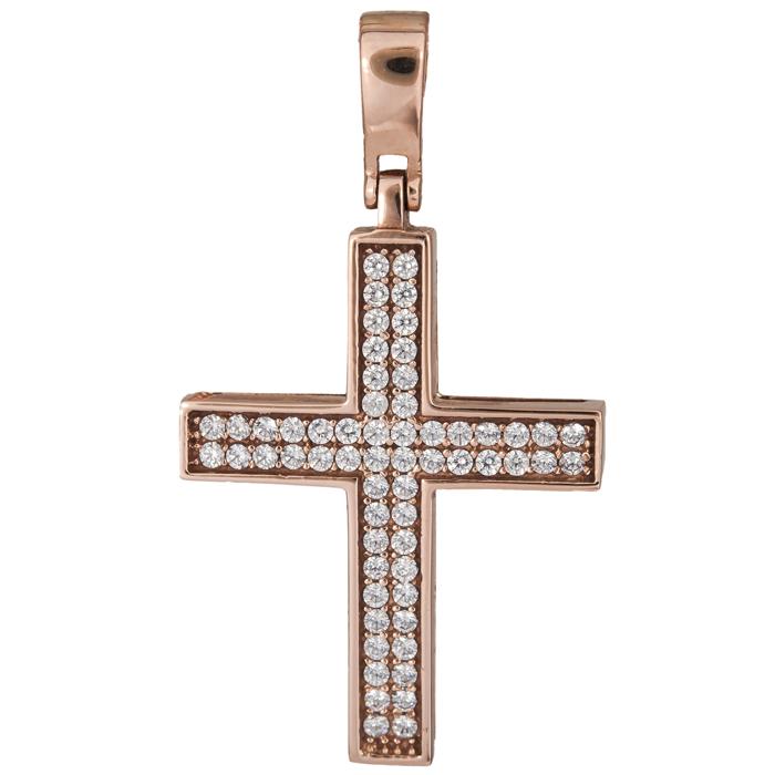Σταυροί Βάπτισης - Αρραβώνα Ροζ gold γυναικείος σταυρός 14Κ 017878 017878 Γυναικείο Χρυσός 14 Καράτια