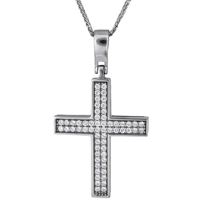 Βαπτιστικοί Σταυροί με Αλυσίδα Λευκόχρυσος γυναικείος σταυρός 14Κ C017879 017879C Γυναικείο Χρυσός 14 Καράτια