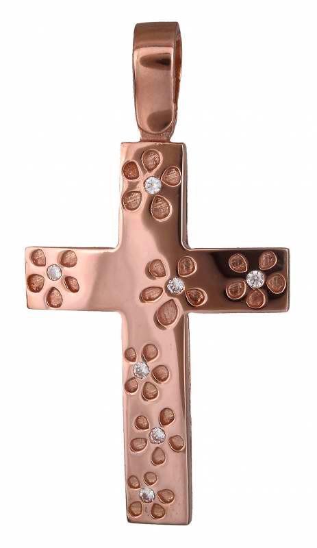Σταυροί Βάπτισης - Αρραβώνα Ροζ χρυσός σταυρός 18Κ 019919 019919 Γυναικείο Χρυσός 18 Καράτια