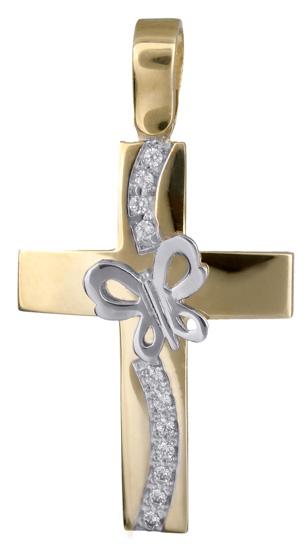 Σταυροί Βάπτισης - Αρραβώνα Δίχρωμος σταυρός γυναικείος 14Κ 017882 017882 Γυναικείο Χρυσός 14 Καράτια