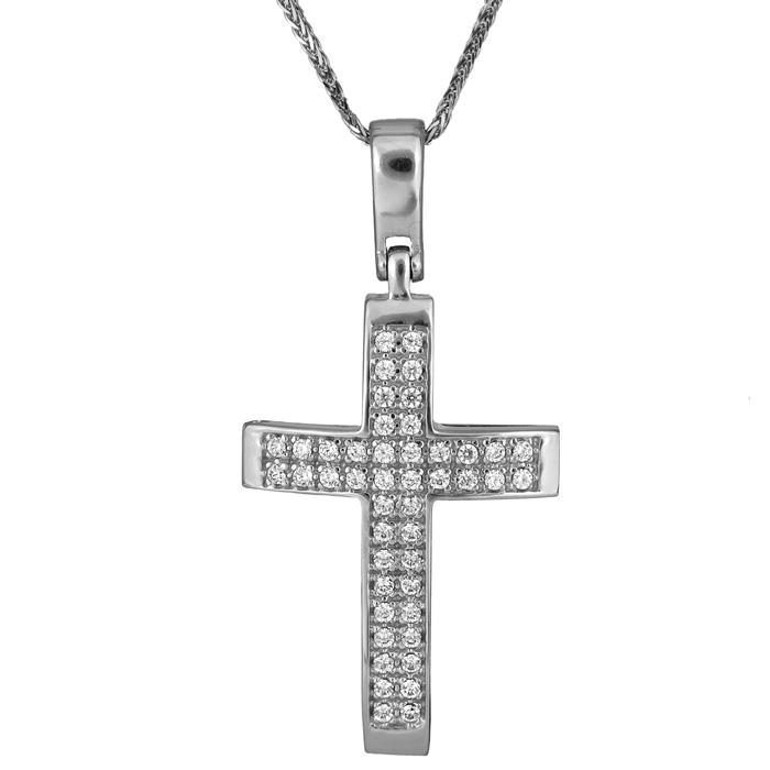 Βαπτιστικοί Σταυροί με Αλυσίδα Λευκόχρυσος γυναικείος σταυρός 14Κ C017884 017884C Γυναικείο Χρυσός 14 Καράτια