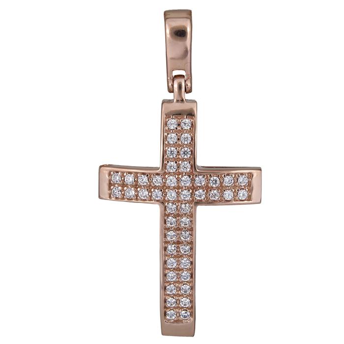 Σταυροί Βάπτισης - Αρραβώνα Σταυρός πετράτος γυναικείος σε ροζ χρυσό 14Κ 017885 017885 Γυναικείο Χρυσός 14 Καράτια