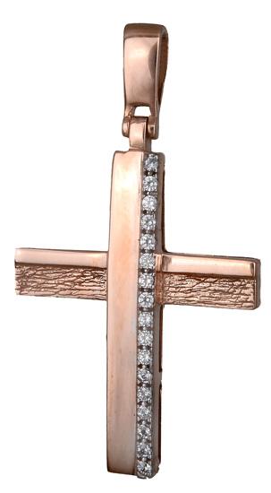 Σταυροί Βάπτισης - Αρραβώνα Γυναικείος σταυρός ροζ χρυσό 14Κ 017887 017887 Γυναικείο Χρυσός 14 Καράτια