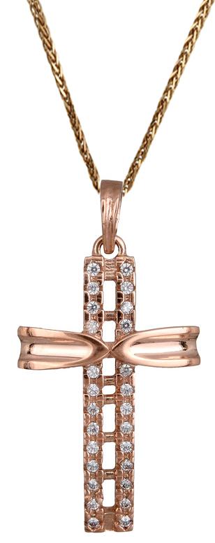 Βαπτιστικοί Σταυροί με Αλυσίδα Γυναικείος σταυρός από ροζ χρυσό 14Κ C017891 017891C Γυναικείο Χρυσός 14 Καράτια