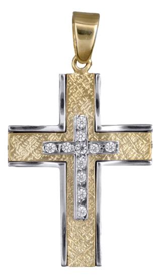 Σταυροί Βάπτισης - Αρραβώνα Δίχρωμος γυναικείος σταυρός για βάπτιση 14Κ 017898 017898 Γυναικείο Χρυσός 14 Καράτια