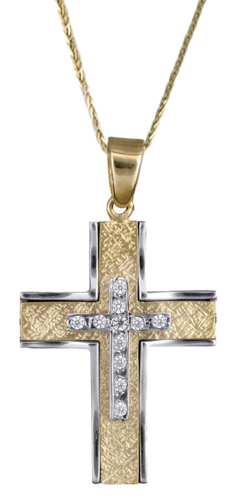 Βαπτιστικοί Σταυροί με Αλυσίδα Γυναικείος σταυρός με πέτρες ζιργκόν 14Κ C017898 017898C Γυναικείο Χρυσός 14 Καράτια